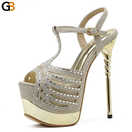 Party Zapatos De Mujer Platform Crystal Head Peep Toe T Tied High Heel Women's Shoes Summer - SolaceConnect.com