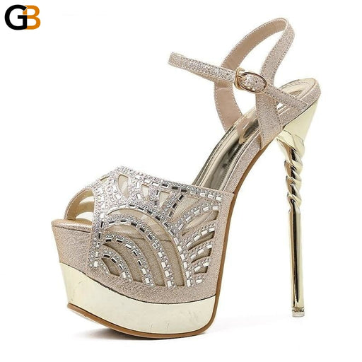 High Heels Women Sandals Crystal Bling Fashion Platform Sexy Summer Patchwork Round Toe PU Ladies - SolaceConnect.com