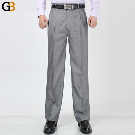 Men Trousers Loose Double Fold Spring Male High Waist Pants Smart Casual plus size 29 33 3436 38 - SolaceConnect.com
