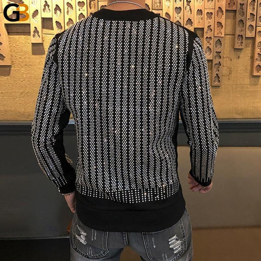 Heavy Hot Drilling Tee Shirt Homme Men's And Women's Pullover Long Sleeve Striped T shirt - SolaceConnect.com