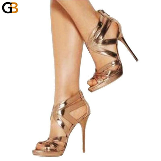 Summer Sandals High Heels Woman's Hollow Out Sexy Elegant Platform Gold Open Toe Female Party Shoes - SolaceConnect.com