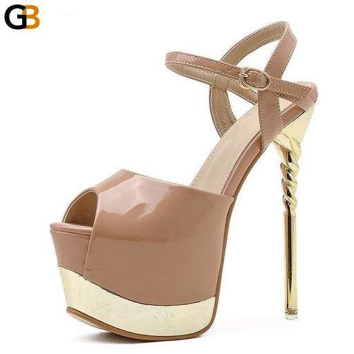 Summer Sandalias Mujer Fashion Concise Platform Round Toe Retro Patent Leather Narrow Band High - SolaceConnect.com