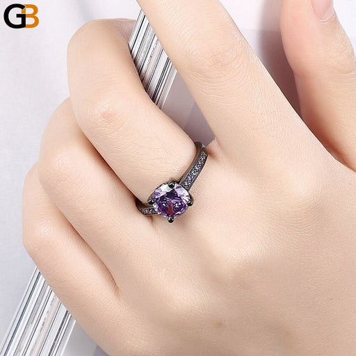 Black Gun Color Round Green Blue Purple Cubic Zircon Jewelry Finger Rings For Women Female - SolaceConnect.com