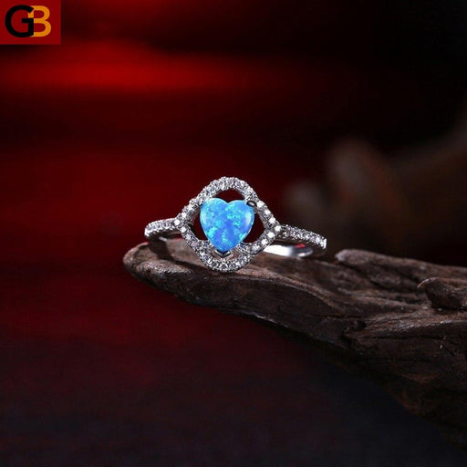 Blue color stone Heart shape Women Ring Fashion Silver color Cubic Zircon Lover Rings Party - SolaceConnect.com