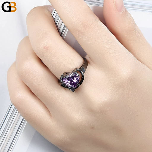Anniversary Promise Jewelery Lover Rings Fashion Black Gun Color Red Purple Heart Cubic Zircon - SolaceConnect.com