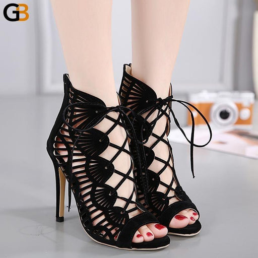 Summer Sandals Women Pumps Open toed High Heels Fashion Hollowing Out Serpentine Pattern Belt 11cm - SolaceConnect.com
