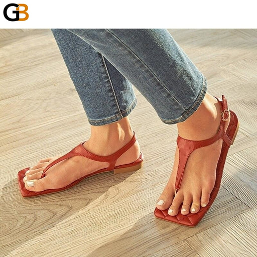 Fashion Women's Shoes PU Summer Flat With Thong Sandals Open Casual T Tied Buckle Strap Leisure - SolaceConnect.com