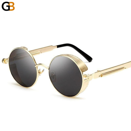 AFOFOO Gothic Steampunk Mens Sunglasses Vintage Metal Men Coating Mirror Sunglasses Women Round