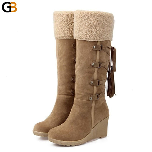 Women's Fashion Plush Slip-Resistant Knee-High Wedges Snow Boots - SolaceConnect.com