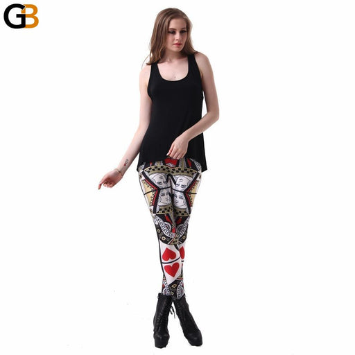 Womens QUEEN OF HEARTS LEGGINGS Digital Printed Milk Vintage Fitness Pants - SolaceConnect.com