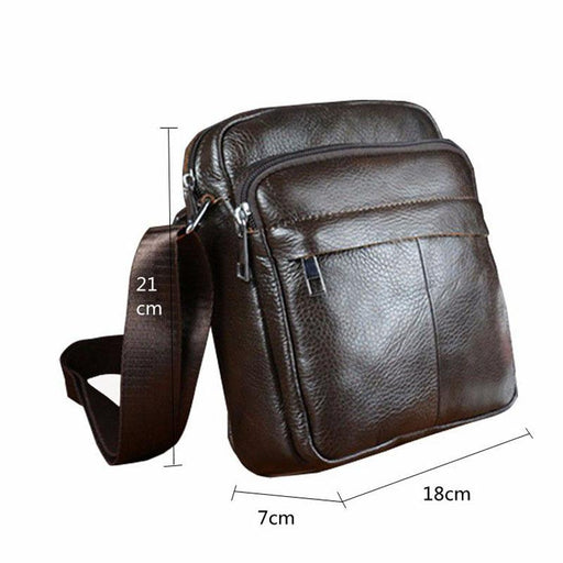 Men's Vintage Genuine Leather Small Messenger Handbags with Flap - SolaceConnect.com