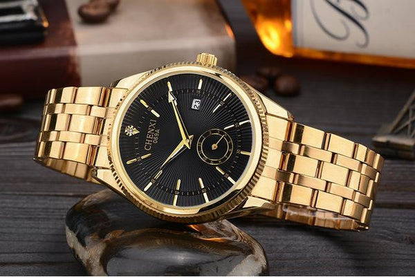 Hot Selling Gold Water Resistant Quartz Wristwatches with Calendar for Men - SolaceConnect.com