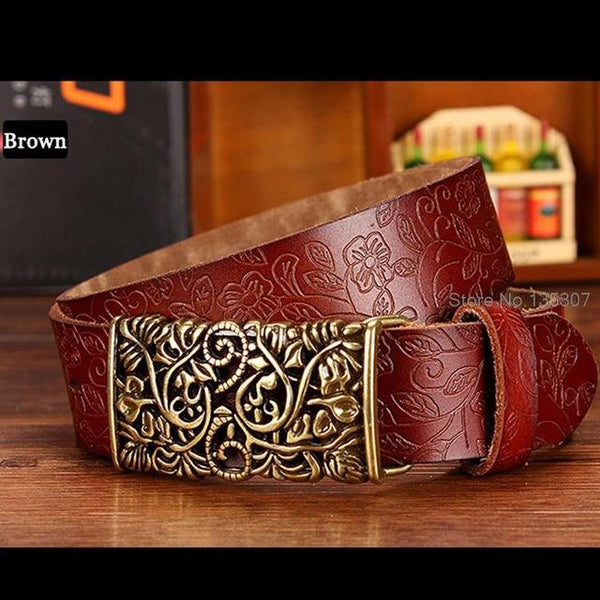 Fashion Genuine Leather Vintage Floral Metal Buckle Wide Belt for Women - SolaceConnect.com