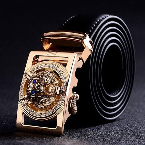 High Quality Men's Gold Wolf Head Buckle Girdle 130cm Casual Designer Belts - SolaceConnect.com