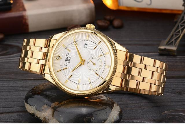 Luxury Gold Watch for Men with Complete Calendar & Auto Date - SolaceConnect.com