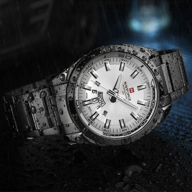 NAVIFORCE Top Luxury Brand Men Sports Watches Men's Quartz Clock Man Stainless Steel Army Military - SolaceConnect.com