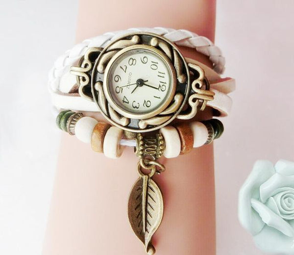 Multicolour Genuine Leather Vintage Bracelet Quartz Wristwatches for Women - SolaceConnect.com
