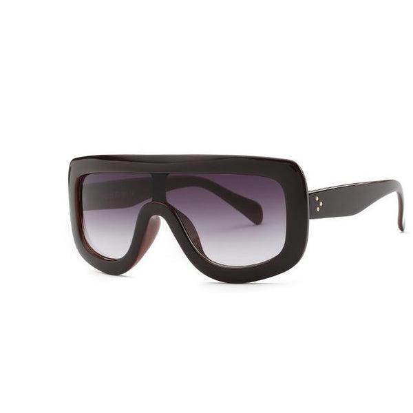 Retro Black Ladies Sunglasses with Sexy Designer Flat Top Rivet Frame - SolaceConnect.com