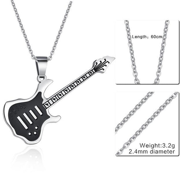 Trendy Stainless Steel Rock Guitar Pendant Punk Music Link Chain Necklace - SolaceConnect.com