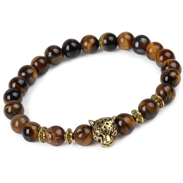 Natural Stone Leopard Tiger Eye Lion Head Owl Beads Charm Buddha Bracelets - SolaceConnect.com