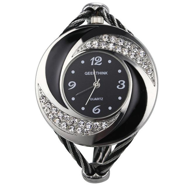 Girl's Rhinestone Whirlwind Design Metal Weave Quartz Wristwatches - SolaceConnect.com