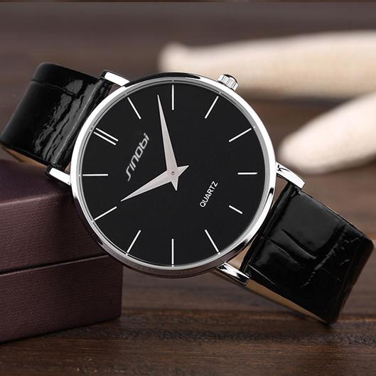 Super Slim Quartz Casual Leather Analog Wristwatch for Business Men - SolaceConnect.com