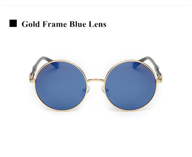 Women's Oversized Designer Vintage Round Retro Sunglasses with Mirror Lens - SolaceConnect.com