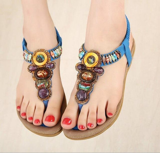 Size 36-42 Bohemian Women's Gemstone Beaded Slippers for Summer - SolaceConnect.com