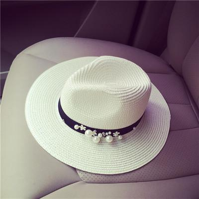 Summer Women's Straw Floral Beads Wide Brimmed Jazz Panama Sun Hat - SolaceConnect.com