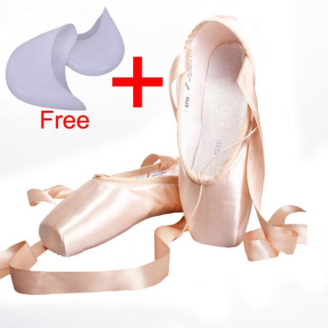 Women's Pink Satin Ballet Dance Point Shoes with Ribbon and Gel Toe Pad - SolaceConnect.com