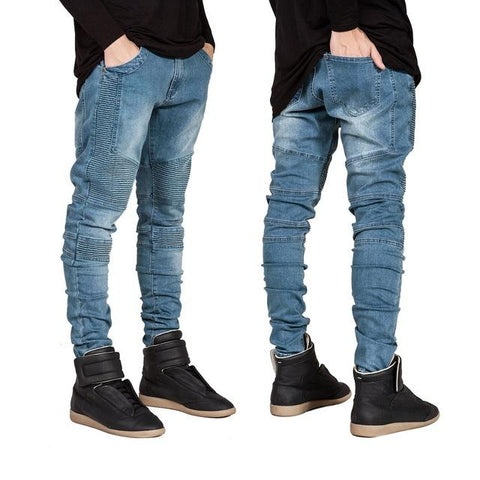 Men Skinny Jeans Men Runway Slim Racer Biker Jeans Strech Hiphop Jeans For Men Y2036