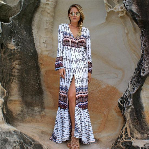 Plus Size Women's Bohemian Style V-Neck Long Sleeve Printed Maxi Dress - SolaceConnect.com