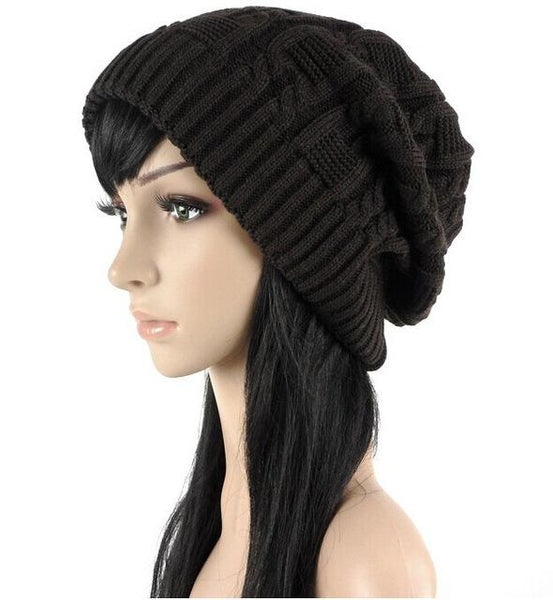 Fashion Warm Autumn Winter Knitted Stripes Double-Deck Unisex Hat - SolaceConnect.com