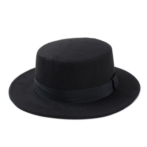 10 Color Men Women Fedora Hat Flat Dome Oval Top Bowler Porkpie Toca Sombrero Sun Hat With Black