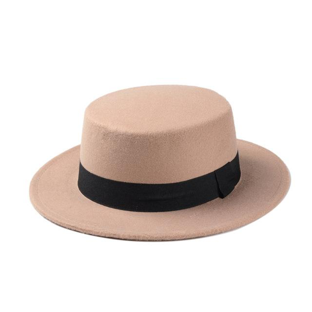 10 Color Men Women Fedora Hat Flat Dome Oval Top Bowler Porkpie Toca Sombrero Sun Hat With Black - SolaceConnect.com