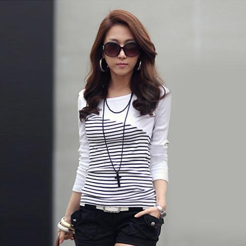 Casual Cotton Striped Long Sleeve T-Shirt Tops Women's Clothing - SolaceConnect.com