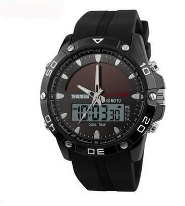 Men's Waterproof Solar Power Sports Casual 2 Time Zone Digital Watches - SolaceConnect.com