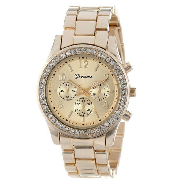 Rose Gold Watch Faux Chronograph Quartz Plated Classic Crystals Round Ladies Women Watch Luxury Gold - SolaceConnect.com