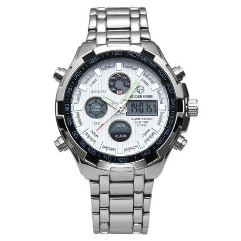 Men's LED Full Steel Quartz Analog Digital Dual Display Military Wristwatch - SolaceConnect.com