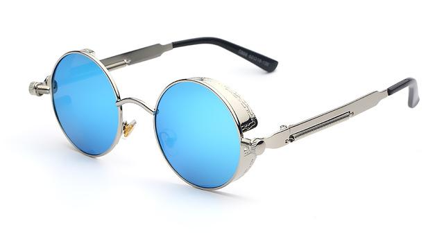 Unisex Retro Round Steampunk Vintage Sunglasses with Mirror Lens - SolaceConnect.com