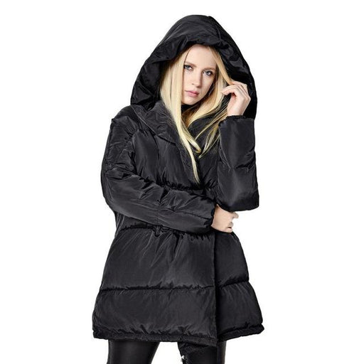 Winter Jackets Women 90% White Duck Down Parkas Loose Fit Plus Size Hooded Coats Medium Long Warm - SolaceConnect.com