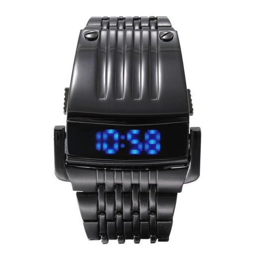 Unique Luxury Military Fashion Iron Men's Steel Blue Red Digital LED Watch - SolaceConnect.com