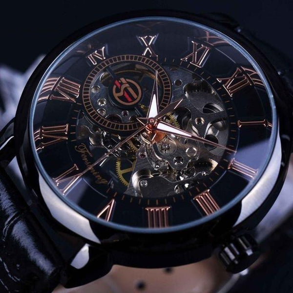 Men's Top Luxury Mechanical Skeleton Black Golden 3D Literal Design Watches - SolaceConnect.com