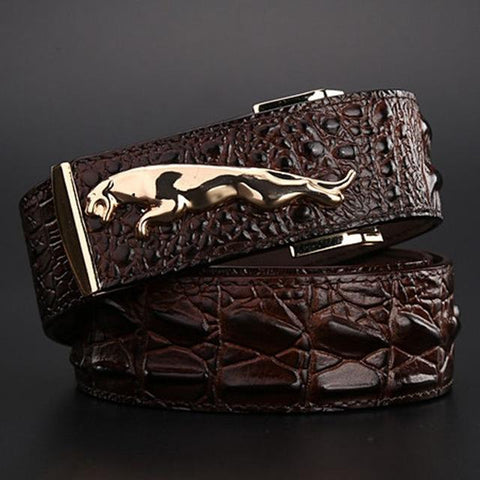 brand new jaguar crocodile style gold belt size 120 cm high quality belts fashion cowboy
