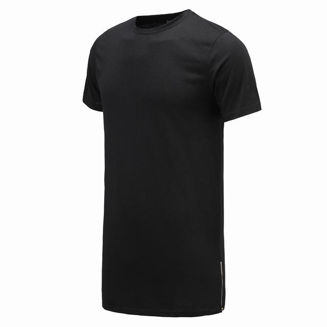 Long Size Black Men's Hip Hop Short Sleeve Casual T-Shirt with Zipper - SolaceConnect.com