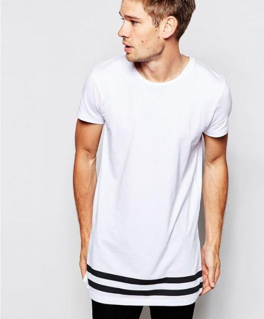 Men's Extended Longline Hipster StreetwearT-Shirt with Stripes - SolaceConnect.com