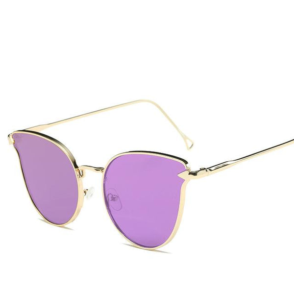Pink Vintage Cat Eye Arrow Sunglasses for Women with Mirror UV400 Lens
