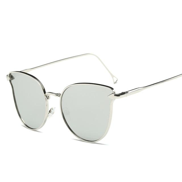 Pink Vintage Cat Eye Arrow Sunglasses for Women with Mirror UV400 Lens - SolaceConnect.com