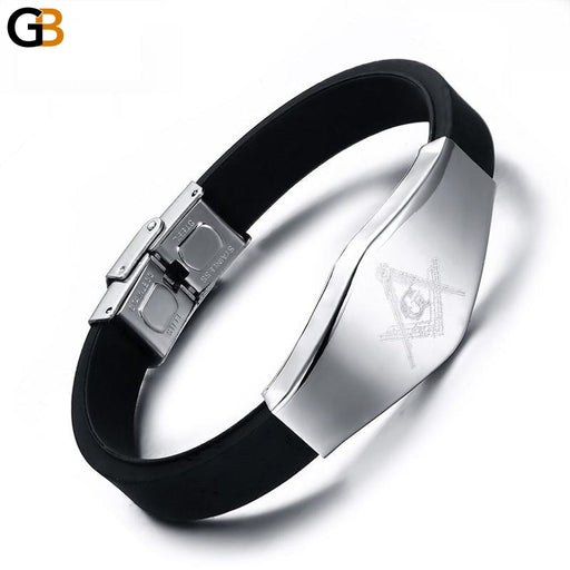 Vnox Masonic Silicone Bracelet Bangle Stainless Steel Adjustable Length Clasp - SolaceConnect.com