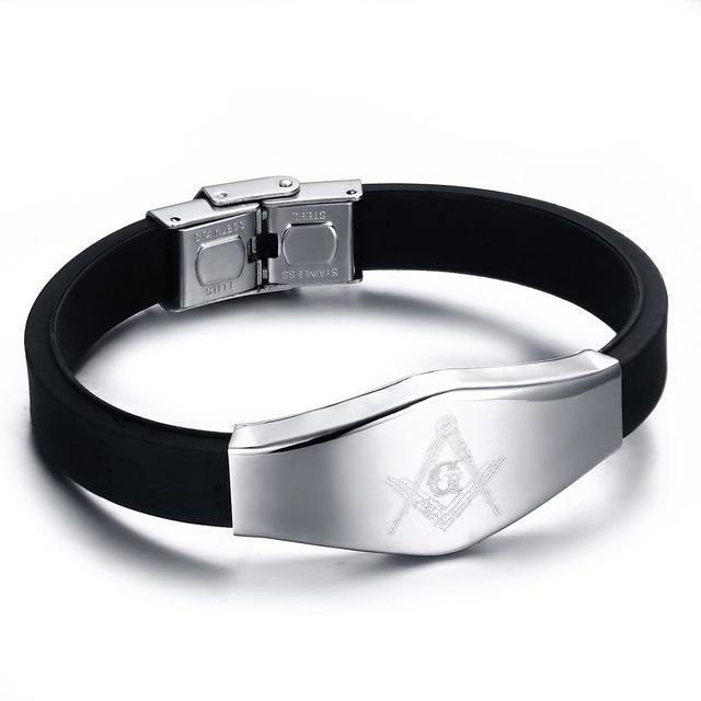 Masonic Silicone Bracelet with Stainless Steel Adjustable Clasp - SolaceConnect.com